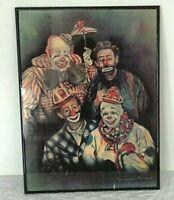 4 FAMOUS CLOWNS Portrait Print D. Debra Colburn Rouen Signed '83 inc Red Skelton