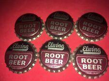 nos 6 Elwing Root Beer Bottle Caps Vintage Drink Soda Pop UnCrimped Oklahoma