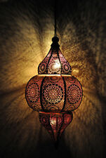 Antique Style Moroccan Hanging Lamp Pendant Light Golden Metal Ceiling Lantern
