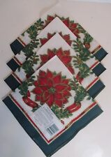 Bardwil Linens Holiday Garland Hunter Poinsettia Napkins Set of 4 Square 17 inch