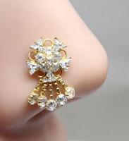 Wedding Nose Stud Real 14K Yellow Gold Dangle Piercing Push Pin nose ring 18g