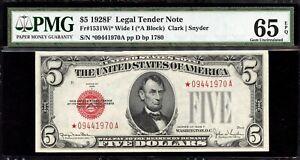 Fr 1531Wi* $5 1928F Wide I - Legal Tender Star - PMG 65 EPQ