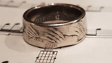 EU hands 50p Coin Ring SIZE  T 1/2
