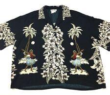 Baik Baik Aloha Shirt Beaded Sequins Designs Hula Girls Palm Trees Size XL Black