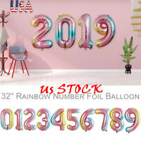 32'' Numbers Foil Rainbow Color Balloons Wedding Birthday Party Photo Decoration