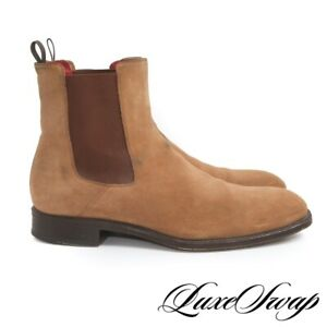 SOLID Alexander McQueen Italy Camel Suede Red Lined Chelsea Boots Shoes 45 NR
