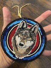 Native American Beaded Wolf Native Beaded Medallion Pow Wow Regalia
