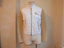 DSQUARED² RUNWAY WHITE DENIM WITH TAN LEATHER TRIM SLEEVES DAN JACKET 52