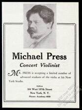 1927 Michael Press portrait violin recital tour booking vintage trade print ad