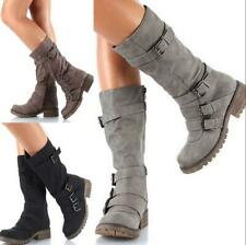 New Womens Buckle Boots Ladies Block Low Heel Goth Punk Combat Motorcycle Shoes