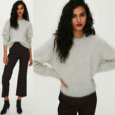 ARITZIA Wilfred Sweater Mohair Pullover Crew Neck Serment Grey Chunky Knit NWT S