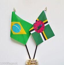 Brazil & Dominica Double Friendship Table Flag Set