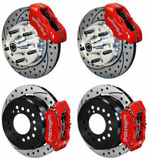 """WILWOOD DISC BRAKE KIT,70-73 FORD MUSTANG,11"""",RED CALIPERS,DRILLED ROTORS"""