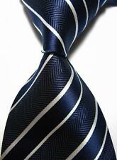 New Classic Stripes Dark Blue White JACQUARD WOVEN 100% Silk Men's Tie Necktie