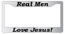 Chrome License plate frame Christian Real Men Love Jesus (#2) 2169