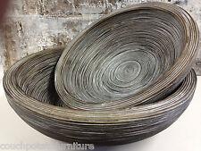 MOZAMBIQUE BOWLS  Set of 2 ....Whitewash Bamboo.. whitewash