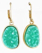 F2 Matte GoldTone Turquoise Agate Acrylic EARRINGS Lead nickel Compliant Dangles