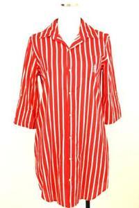 womens red stripe RALPH LAUREN sleep lounge wear MONOGRAM shirt top pockets S