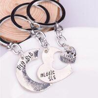 3Pcs/Set Love Heart Big Middle Little Sisters Charm Keychain Key Ring Pendant