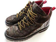 KITON Brown Crocodile Alligator Leather Boots Shoes 10.5 US 43.5 Euro 9.5 UK