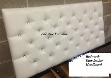 New Design Diamante Bedworth Faux Leather Headboard in 3ft, 4ft, 4ft6, 5ft, 6ft