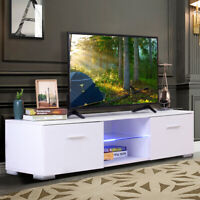 """57"""" TV Stand with LED Lights Shelf 2 Drawer Console Cabinet Entertainment Center"""