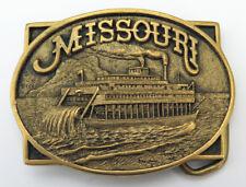 Missouri River Paddle Boat Heritage Mint Brass 1980's Vintage Belt Buckle