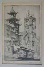 """HARRIET ROUDEBUSH (1908-1988) PENCIL SIGNED ETCHING """"CHINATOWN"""" CABLE CAR NICE"""