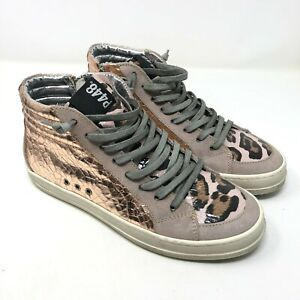 P448 Rose Gold Pink Leopard Sneakers Skate Mid Top Size 38 8