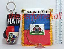 Haiti Flag Haitian Flag Mini Banner Boxing Glove Key Ring car rear view mirror
