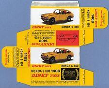 DINKY TOYS 1408 : HONDA S 800 box repro boite refabrication copie