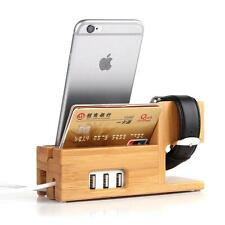 Genuine Bamboo Charging Dock Charger Station Desk Stand Holder with 3 USB Ports