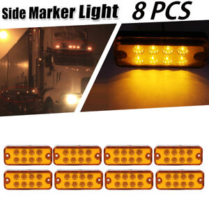 "8X 4"" 8LED Clearance Side Marker Light Indicator Lamp Truck Trailer Lorry Amber"