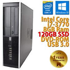PC COMPUTER DESKTOP RICONDIZIONATO HP 8300 CORE i7-3770 RAM 8GB SSD 120GB WIN 10