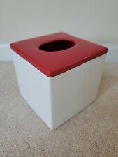 Red and White Ceramic Tissue Box Cover