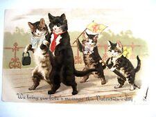 Precious 1908 Valentine Card w/ Mom & Dad Cat & Kitten Kids Taking a Walk *