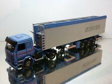 TEKNO HOLLAND SCANIA 143M 450 TRUCK + TILT TRAILER - BLUE 1:50 - VERY GOOD
