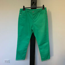 'ROCKMANS' EC SIZE '14' GREEN JEAN STYLE COTTON CAPRI PANTS WITH TURNED UP CUFF