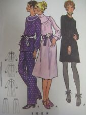 Vtg 70's Butterick BIAS TURNOVER COLLAR DRESS BUTTON CUFF Sewing Pattern Women