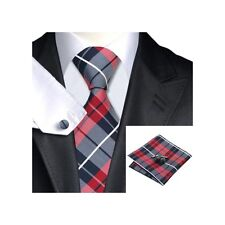 JSS Mens Formal 100% Silk Tartan Check Wedding Pocket Square Cufflink Tie Set