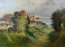 Georges ROGER (1867-1943) Chaumières huile sur toile Gérôme Île-de-France