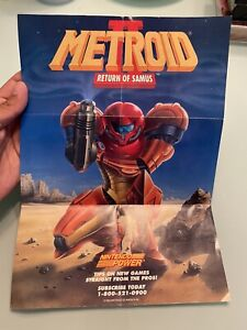 Metroid II Return of Samus Game Boy Poster Double-Sided Promo Poster Only 1992