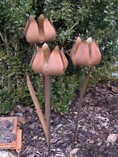 Blume  Stele - in trendiger Rost-Optik -  Edelrost-Deko-Windlicht-Garten  65 cm
