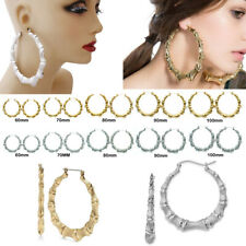 Large Big Door Knocker Bamboo Hoop Gold Earrings Hip Hop Basketball Wives NEW