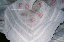 Tagesdecke LOUISA 230x260 cm Grau Rosa Sofaüberwurf Landhaus Vintage
