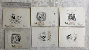 Leslie Starke New Yorker Artist 6 Original Cartoons Women publishd Today 1960-64