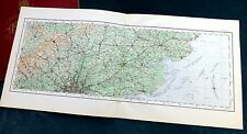NORTH LONDON, MIDDLESEX, HERTFORDSHIRE & ESSEX, 1922 - Vintage Cloth O.S. map .