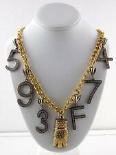 Goldtone and Sterling Silver Pendant Necklace Rhinestone Studded Hand Numbers