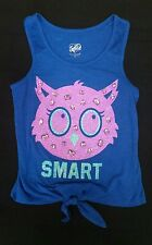 Justice Smart Owl Tank Shirt Blue Purple size 10 jewel & glitter embellishment