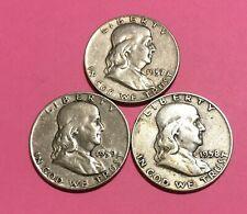 Lot of Three (3) SILVER Franklin Half Dollars, 1957-D, 58-D & 59-D, Better Grade
